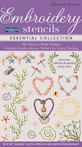 fast2markTM Embroidery Stencils - Essential Collection: 90+ Easy-to-Mark Designs - Endless Combinations • Perfect for Crazy Quilting • Accurate Stitches & Spacing Every Time