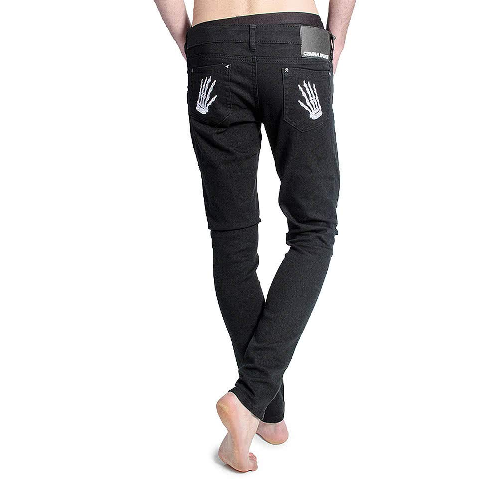 Criminal Damage Mens White Skeleton Hands Patterned Skinny Fit Jeans (Black)