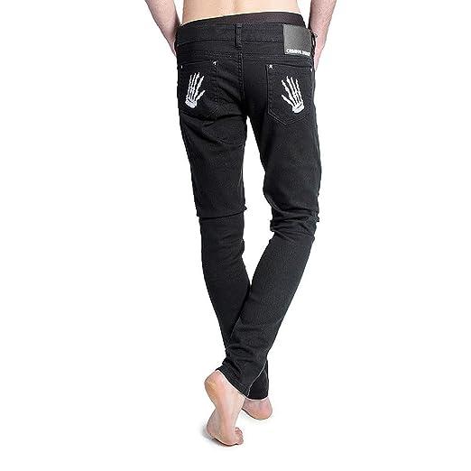 10c18abda4 Criminal Damage Mens With Skeleton Hands Skinny Fit Black/White Jeans - 26