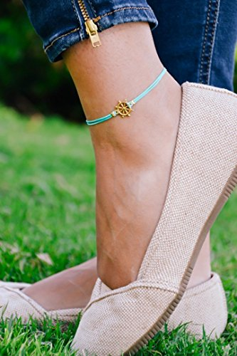 Ship wheel anklet, ankle bracelet with a 14k gold plated helm charm, turquoise string, nautical jewelry, sailor, sea, summer jewelry, beach