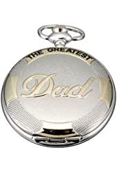 AMPM24 Classic Mens Silver Tone DAD Pendant Quartz Pocket Watch Chain Necklace Gift WPK063