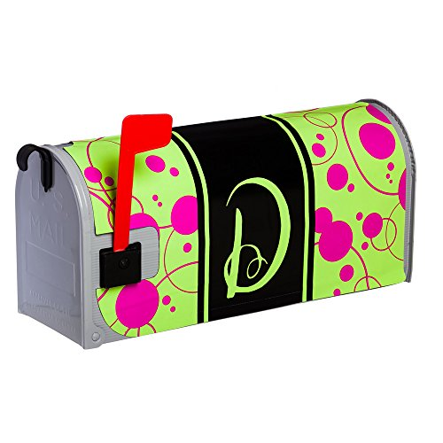 Line Standard Sized Monogram - Monogram Peppy Pink & Green Polka Dot Glow in the Dark Magnetic Mailbox Cover - D