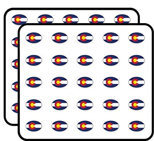 Colorado State Flag Oval Sticker for Scrapbooking, Calendars, Arts, Kids DIY Crafts, Album, Bullet Journals 50 Pack