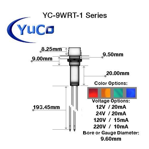 10 YC-9WRT-1G-120-10 YuCo CE LISTED 9MM COMPACT PANEL MOUNT INDICATOR LED PILOT LIGHT GREEN 120V AC/DC by Yuco (Image #2)