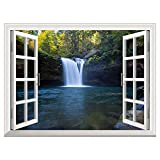 RAIN QUEEN3D Self-Adhesive Removable Wall Murals Waterproof Forest Waterfall Window View Landscape Wall Sticker Home Decor Wall Poster 24''32'' Waterfall