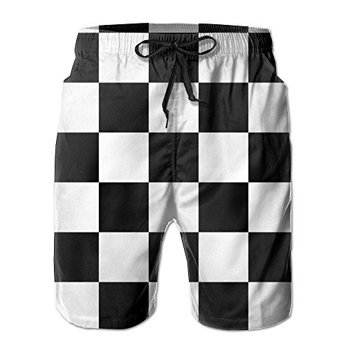 a5082765f6550 Lalamin Racing Checkered Flag Beach Shorts for Men Quick Dry Swimming Shorts  with Pockets