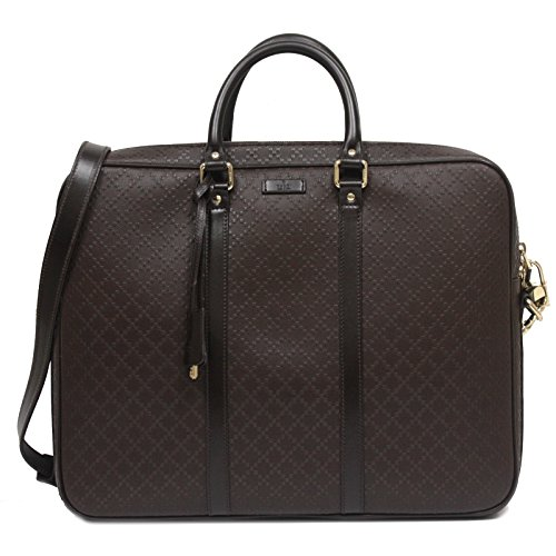 Diamante Leather - Gucci Men's Diamante Leather Large Briefcase Bag 208468 Dark Brown