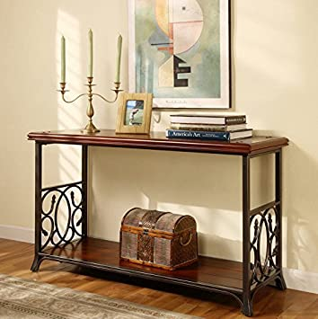 Traditional Sofa Table Exclusive Elegant Scrolled Metal and Wood Brown