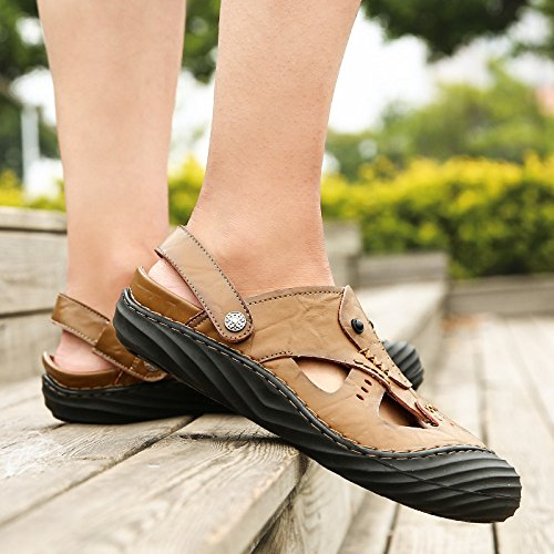 In Casual Nuovi Sandali Moda Da khaki Yoxong Uomo Sandali Spiaggia Pelle Baotou Sandali Da dIw1qFFA