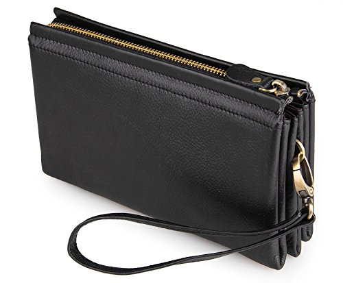 Price comparison product image DRF Leather Wristlet Clutch Purse Wallet with Wrist Strap BG-61 (Black)