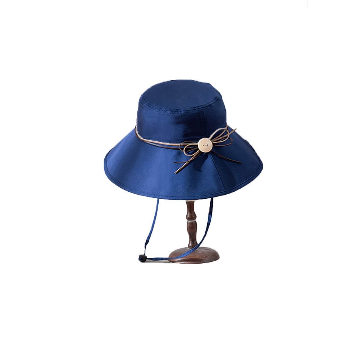 Zhongyue Women's Summer Visor Foldable UV Protection Big Hats Wild Series Sun Hat, Belge,Blue Summer hat (Color : Blue)