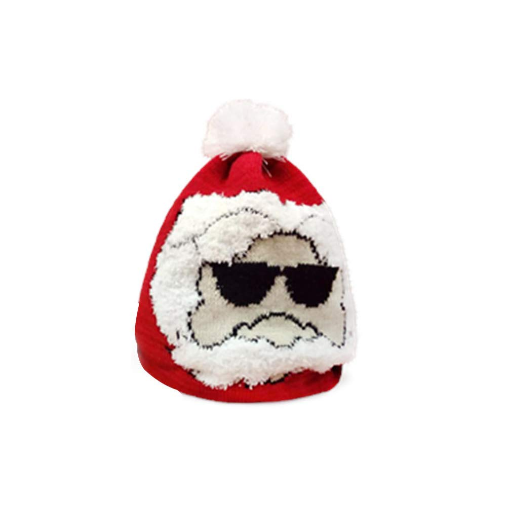 Yevison 1pc Christmas Knitted Hat Winter Cap Slouchy Warm Knit Skull Cap with Santa Claus Desgin for Kids and Adults - Size L Premium Quality