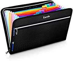 Fireproof Safe Waterproof Accordion File Bag Folder Expanding Filing Folder with 14 Multicolored Pockets, A4 Letter Size,...