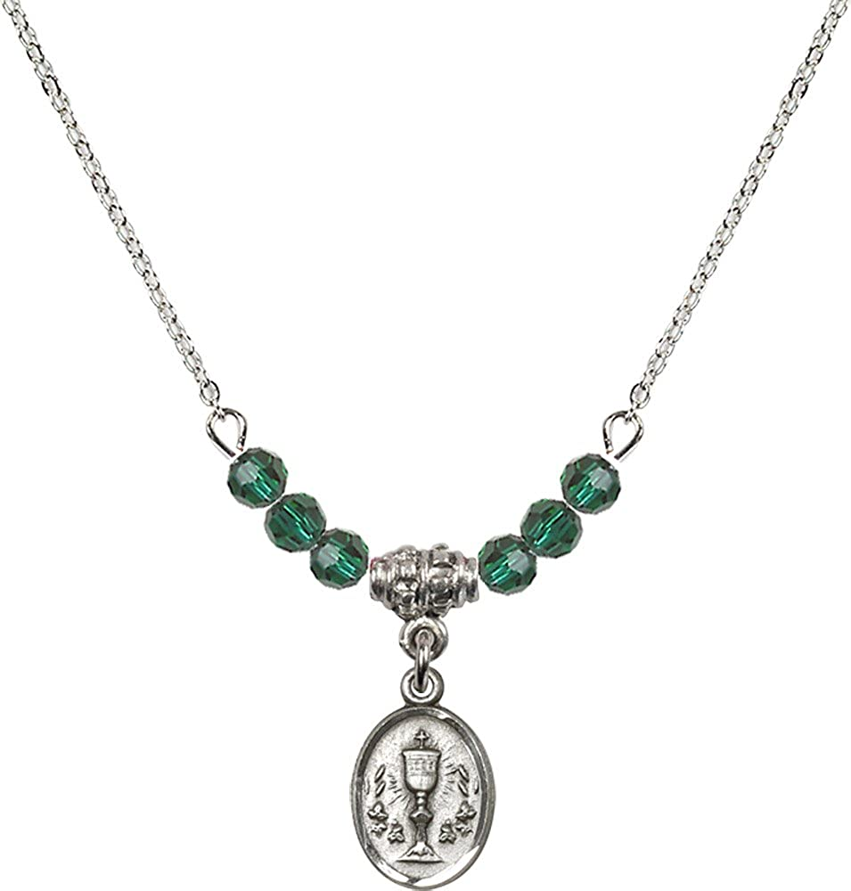 18-Inch Rhodium Plated Necklace with 4mm Emerald Birthstone Beads and Sterling Silver Chalice Charm.