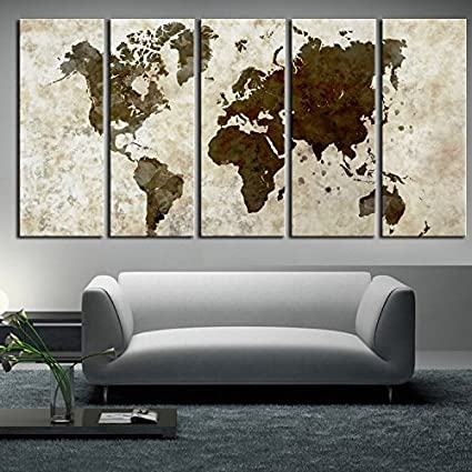 Amazon.com: large World Map Canvas wall art, Large wall Art, vintage ...