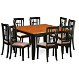 East West Furniture PFNI9-BCH-C 9 PC Dining Room Set-Dining Table and 8 Wood Dining Chairs