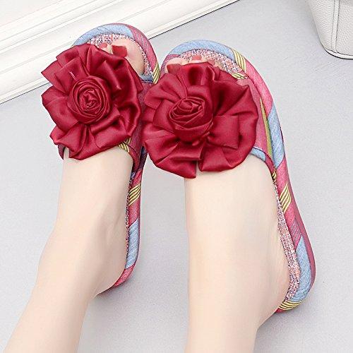 soggiorno Cool pantofole elegante home antiscivolo al di pantofole donna sweet Borgogna pavimento rose spessore estate coperto fankou home sweet 36 dqBwSXX
