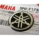 Yamaha 5P0-F1737-00 - Genuine 25MM Diameter Yamaha Tuning Fork Decal Sticker Emblem Logo Silver / Black Raised Domed Gel Resin Self Adhesive Motorcycle / Jet Ski / ATV / Snowmobile