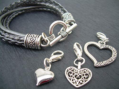 Strand Heart Toggle - Womens Gray Multi Strand Leather Heart Charms Bracelet with Toggle Clasp