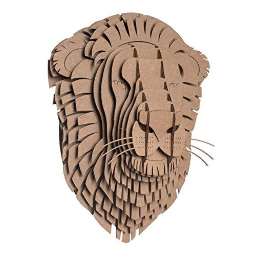Cardboard Safari Recycled Cardboard Animal Taxidermy Lion Trophy Head, Leon Brown Small