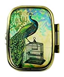 Value Arts Elegant French Peacock Pill Box, Brass and Glass, 2.25 Inches Long