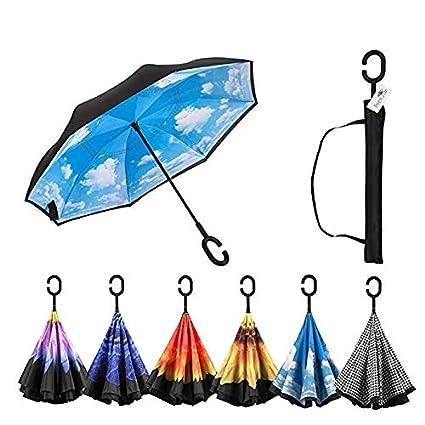 Invertida Reversa Coche Lluvia Reversible Paraguas Invertida Moda Impermeable Paraguas Creativeinnovative Al Aire Libre Golf Deporte