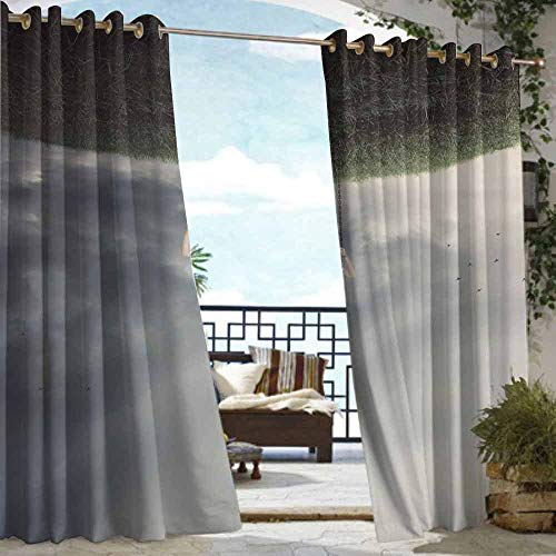 (DILITECK Outdoor Grommet Window Curtain Surrealistic Upside Down World of A Sad Woman on The Swing Depression Picture Great for Living Rooms & Bedrooms W108 xL84 Purple Grey Reseda Green)