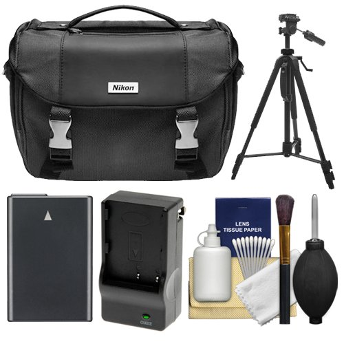 Nikon Deluxe Digital SLR Camera Case - Gadget Bag with EN-EL14 Battery + Charger + Tripod + Cleaning Kit for Nikon SLR Cameras