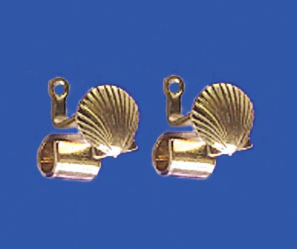 Dollhouse Gold Scallop Shell Drapery Rod Brackets for 1:12 Miniature Curtains