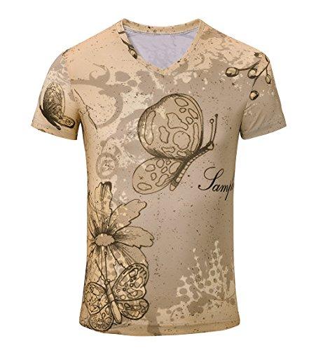 LemonGirl Mens Fashion T-Shirts Full Print T-Shirts Short Sleeve Shirts