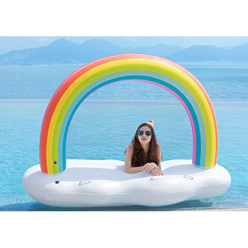 Giant Inflatable Rainbow Cloud Float Raft Swimming Pool Water Party Lounger Toy