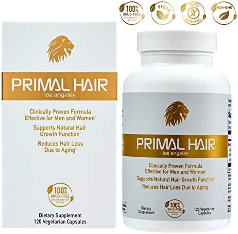 PRIMAL HAIR: Hair Growth & Hair Loss Treatment, Hair Thinning Supplement, Patented Formula Clinically Proven for Men & Women. Supports Natural Hair Growth & Reduces Hair Loss - 30-Day Supply