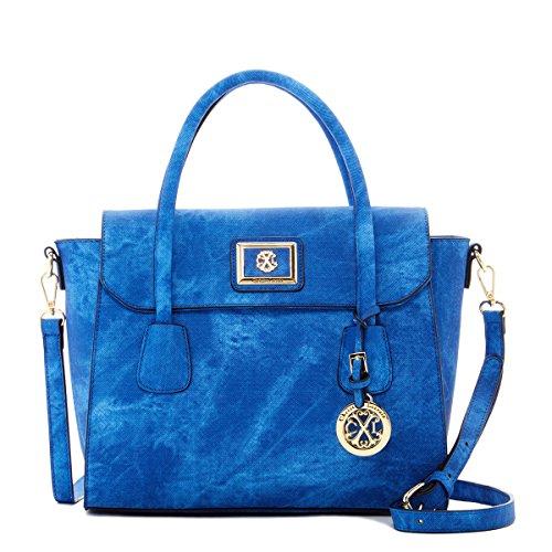 Christian Womens Strap (CXL Clarisse Compact Briefcase Style Satchel with Detachable Shoulder Strap, Blue, by Christian Lacroix)