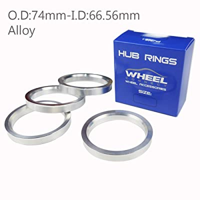 WHEEL CONNECT Hub Centric Rings, Set of 4, Aluminium Alloy Hubrings, O.D:74 -I.D:66.56mm.: Automotive