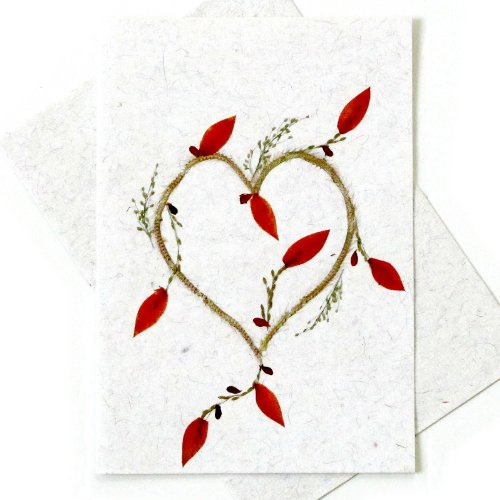 Pressed Flower Card - Valentine's Day Anniversary Greeting Card - Heart - Mothers Day Handmade Greeting Card with Natural Pressed Flower Petals Etc.