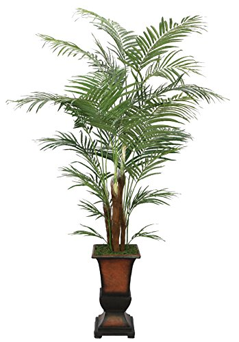 Laura Ashley 7 Foot Tall High End Realistic Silk Areca Palm Tree with Decorative Planter by Laura Ashley