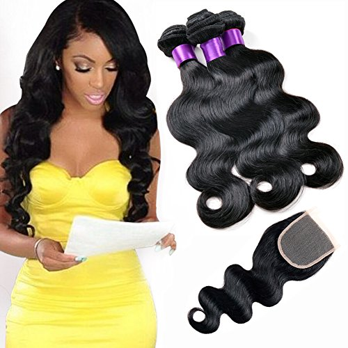 ndles with Free Part Bleached Knots 44 Inch Lace Closure Brazilian Virgin Natural Color Black Body Weave, Perfect for Woman (16 18 20 with 14 Inch) ()