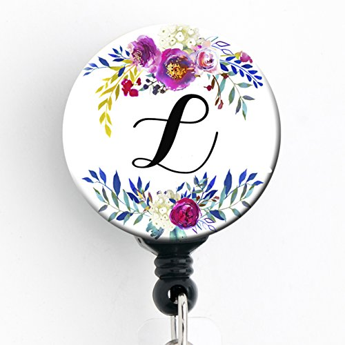 Girl Badge - L - Watercolor Floral Wreath - Retractable Badge Reel With Swivel Clip and Extra-Long 34 inch cord - Badge Holder