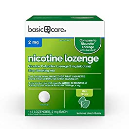 Amazon Basic Care Nicotine Polacrilex Lozenge, 2 mg (nicotine), Stop Smoking Aid, Mint Flavor; quit smoking with mint…