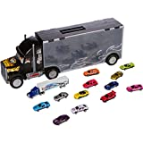 Big Truck Carrier Toy for Boys and Girls (3+ Years Old) - Plastic Car Transporter/Holder/Case - Includes 12 Metal Cars, 1 Rig and 26 Slots By Gecko Toys
