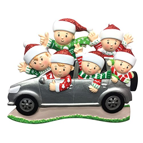Personalized SUV Family of 6 Christmas Tree Ornament 2019 - Sibling Friend Travel in Car Ugly Sweater Tradition Winter Holiday Vacation Grandkids Gift Year - Free Customization (Six) -