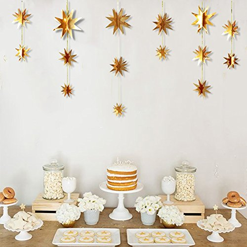 Crystyle Set of 2 Gold Star Garland Decoration 2.2 Yard 3D Star Ornaments Decor for Holiday,Birthday Parties,Wedding,Baby - 2 Garland