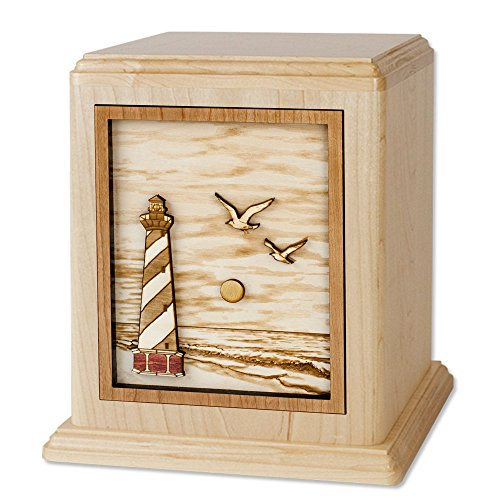 Wooden Companion Urn - Cape Hatteras Lighthouse 3-Dimensional Inlay Wood Art Memorial Made in the USA - Double Funeral Urns for Two Adults (Companion Urn for Two (400 cubic inches), Maple)