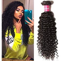 KLAIYI Hair Good Quality Brazilian Curly Hair Weave 1Bundle Virgin Human Hair Extensions Unprocessed Natural Color 95-100g/pc (20Inch)