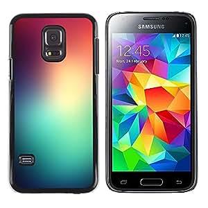 TopCaseStore / la caja del caucho duro de la cubierta de protección de la piel - Teal Red Glass Stained Lights Dawn Nature - Samsung Galaxy S5 Mini, SM-G800, NOT S5 REGULAR!