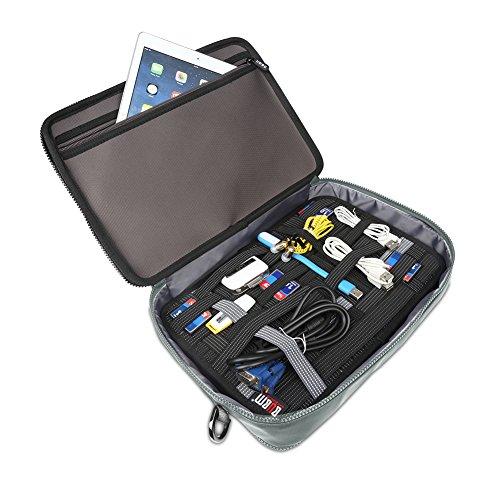 BUBM Double Layer Laptop Messenger Bag, Hard Shell Elektronik Zubehör Fall, Laptop Schulter Aktenkoffer für 11 Zoll Notebook, Grau Grau