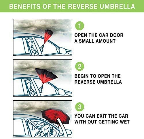 Rarva Windproof Double Layer Folding Inverted Umbrella Self Stand Upside-Down Rain Protection Car Reverse Umbrellas with C-Shaped Handle Multiple colors