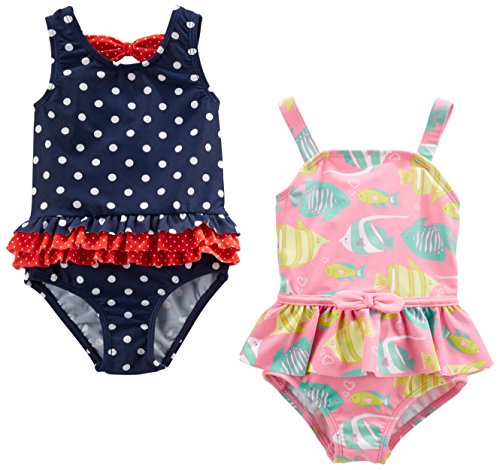 Dots Swimsuit Bathing Suit - Simple Joys by Carter's Baby Girls' Toddler 2-Pack One-Piece Swimsuits, Navy Dot/Pink Fish, 3T