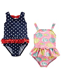 Cuekondy Toddler Baby Girls Kids One Piece Swimsuit Cute Cherries Printed Bowknot Beach Bikini Swimwear Bathing Suits