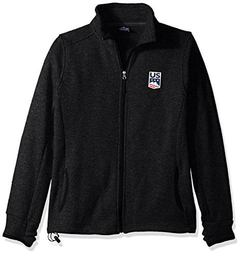 US Ski-Snowboard Licensed Apparel U.S. Ski Team Logo Fleece Jacket, Black Heather, X-Large (Best Snowboard Apparel Brands)